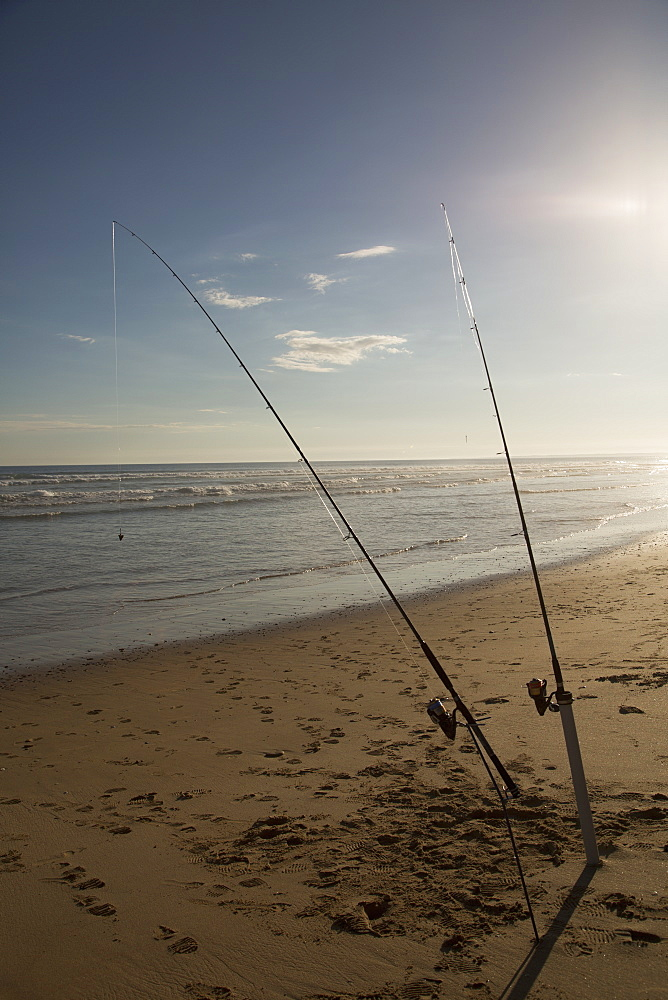 Fishing rods in sand on beach