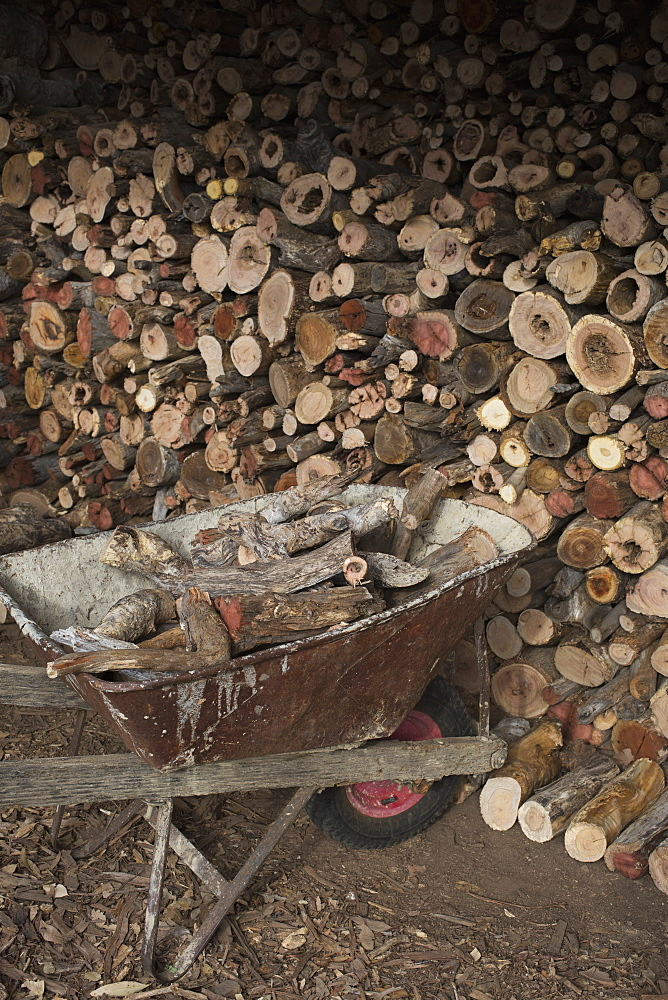 Stack of firewood by wheelbarrow