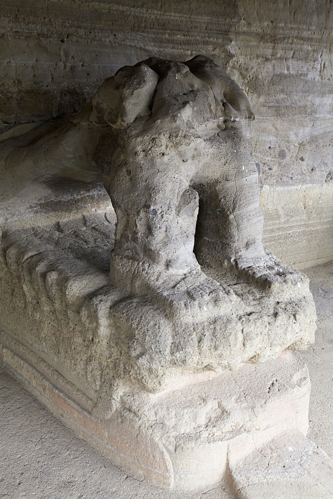 Old sculpture in temple at Malinalco