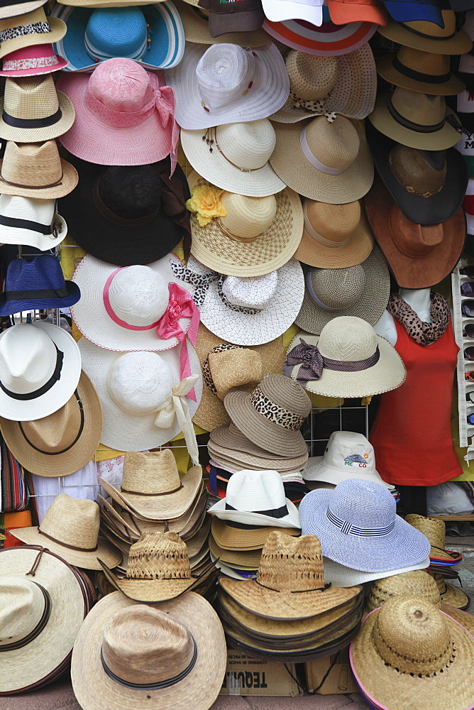Full frame shot of sun hats displayed at store