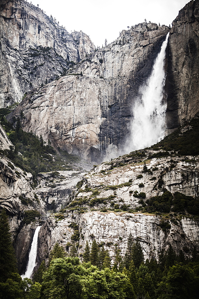 Low angle view of upper and lower Yosemite Falls, Yosemite National Park, California, USA