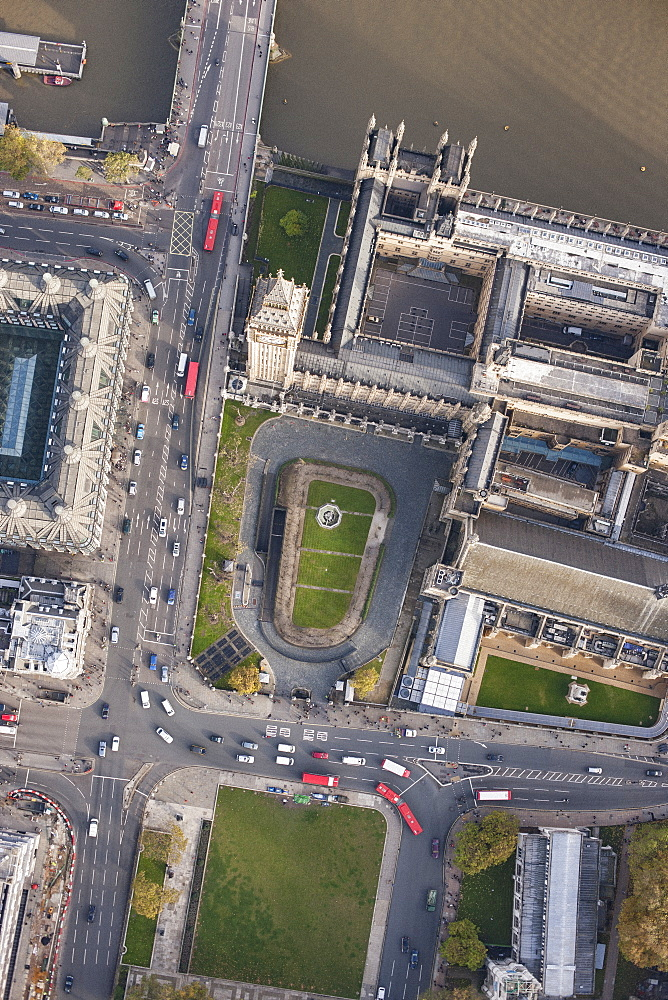 Directly above view of Big Ben and Westminster Bridge by Thames River, London, England, UK - 1177-1829