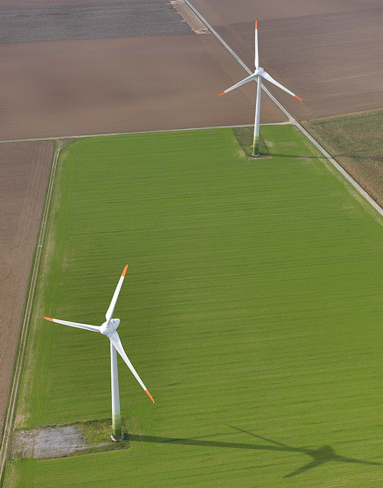 Aerial view wind turbines in agricultural fields near Frankfurt, Hessen, Germany