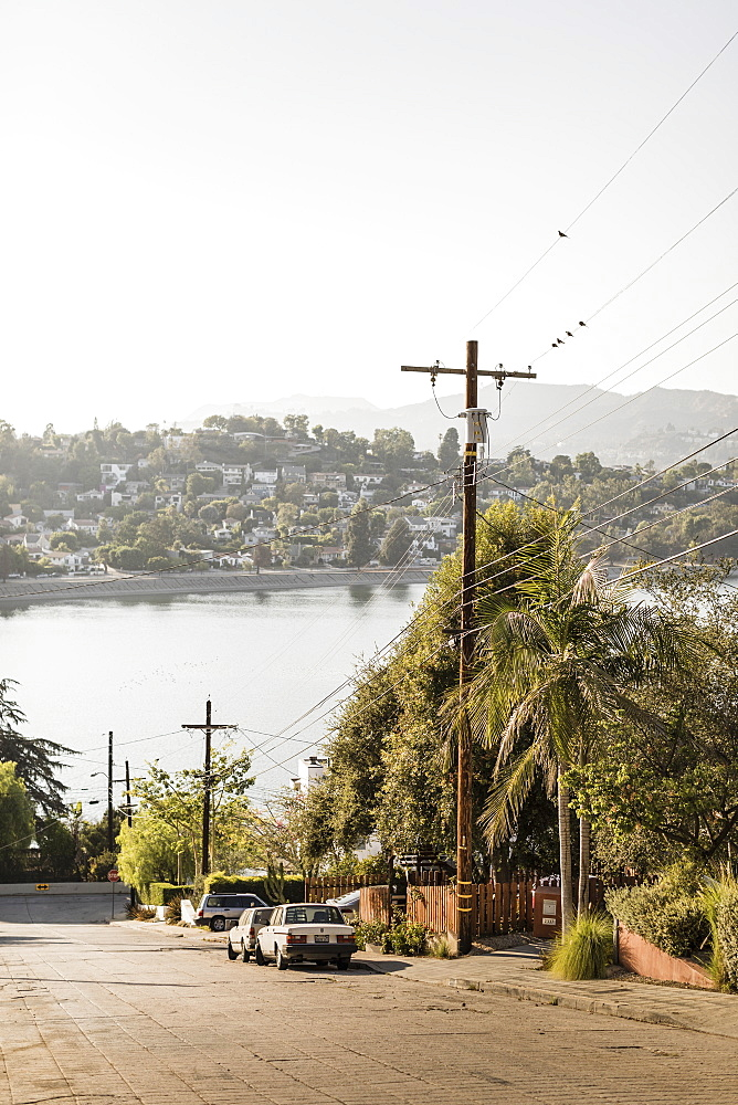 Neighborhood with sunny lake view, Los Angeles, California, USA - 1177-2118