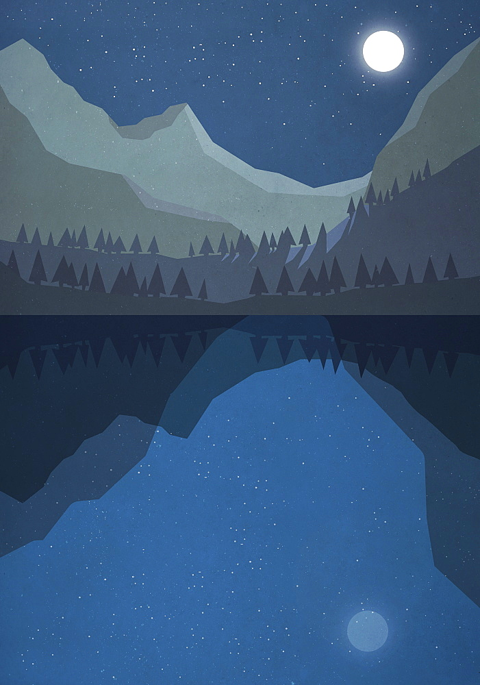 Moonlight shining over tranquil mountain lake