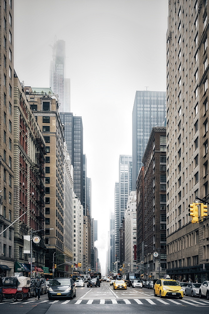 New York City street and buildings, Sixth Avenue, New York, USA