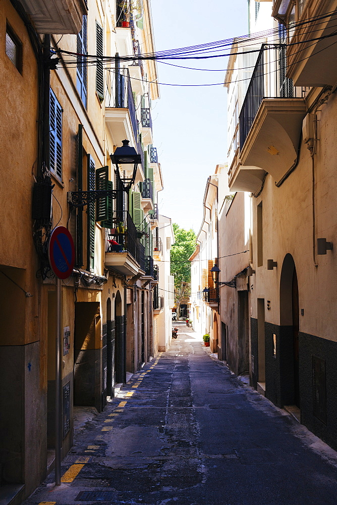 Street between buildings, Palma, Mallorca, Balearic Islands, Spain