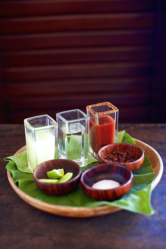 Gourmet tequila shots on tray