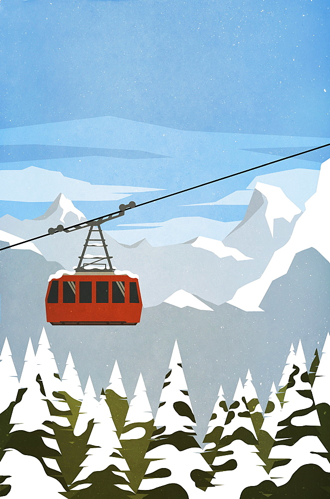Ski gondola ascending mountain