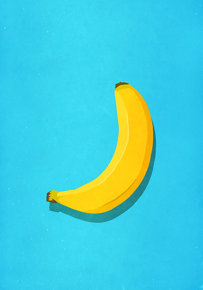 Unpeeled banana on blue background