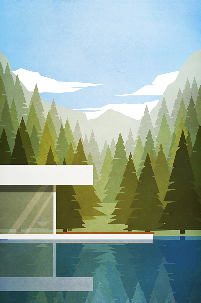 Modern lake house with summer woods and mountains in background