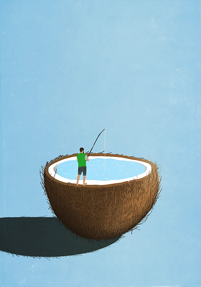 Man fishing inside coconut