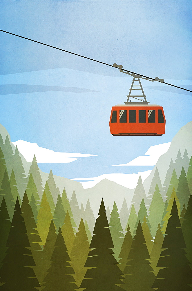 Ski gondola ascending above forest trees