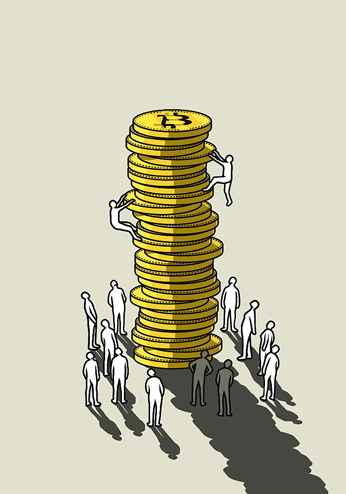 People climbing tall stack of Bitcoins