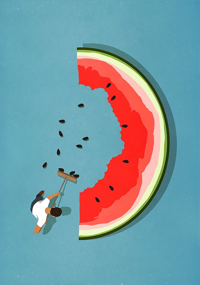 Man with broom sweeping seeds from large watermelon slice - 1177-2941