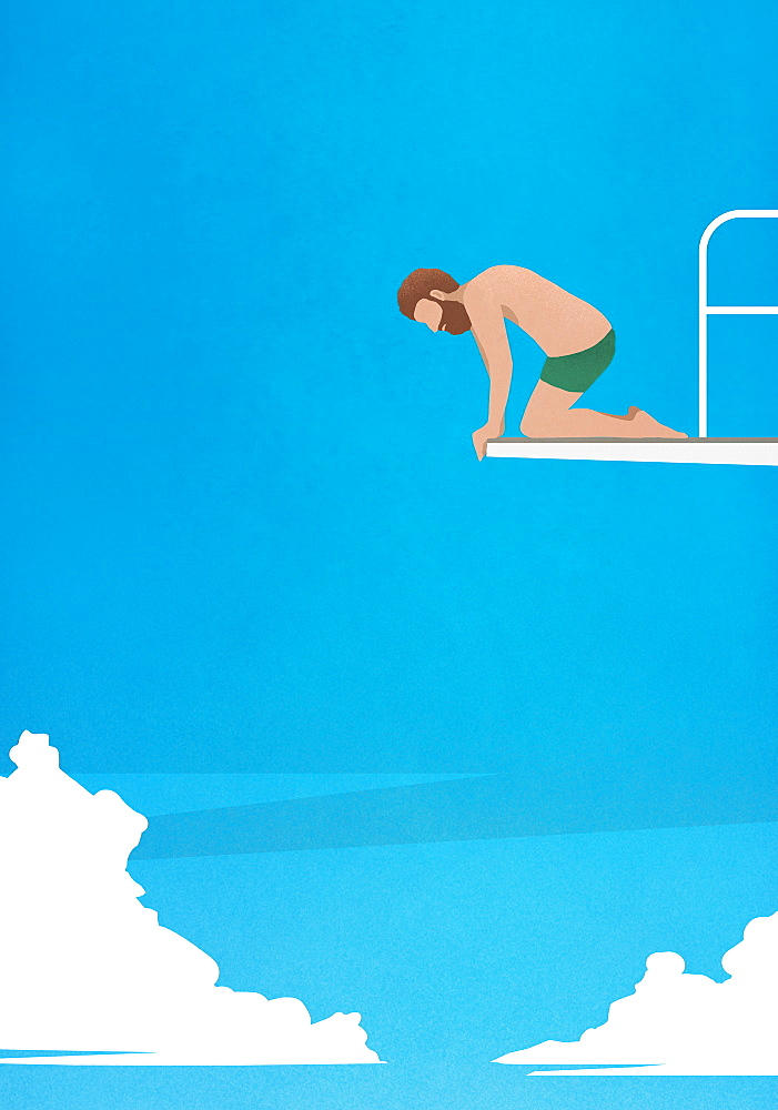 Anxious man at the edge of diving board, looking down