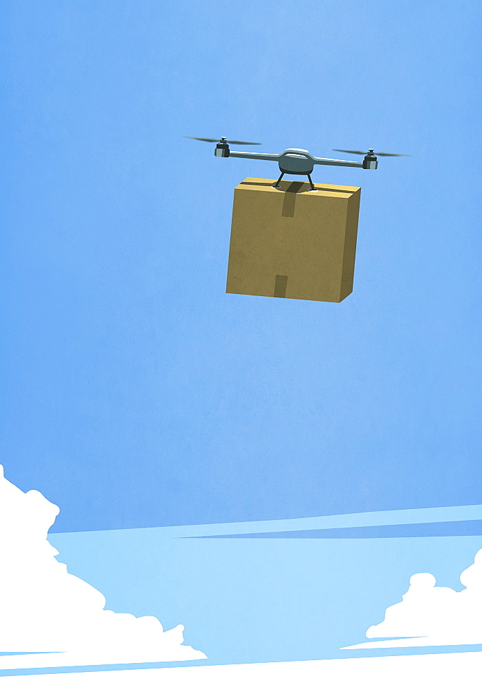 Drone in sky delivering cardboard box
