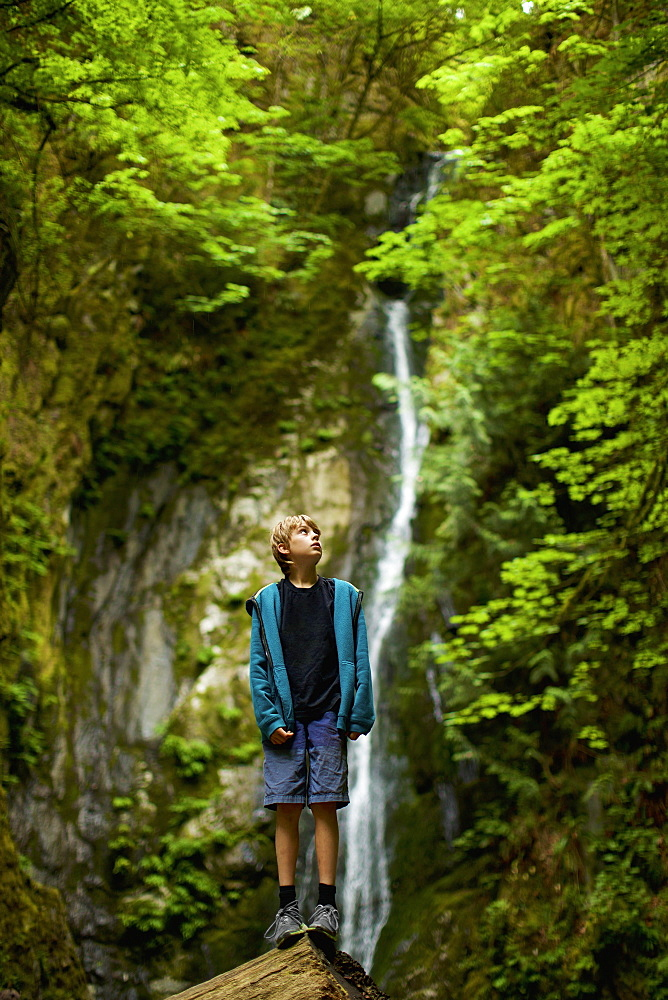 Curious boy in woods with waterfall, Goldstream, British Columbia, Canada