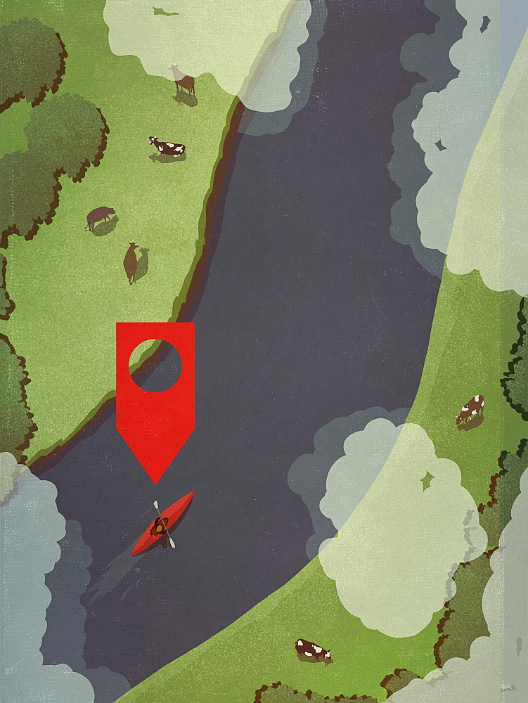 Map pin icon above person kayaking along rural river