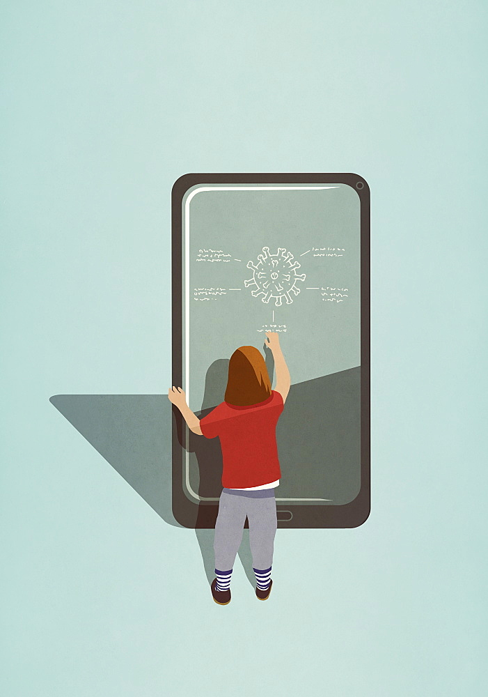 Girl diagraming COVID-19 coronavirus on large smart phone screen