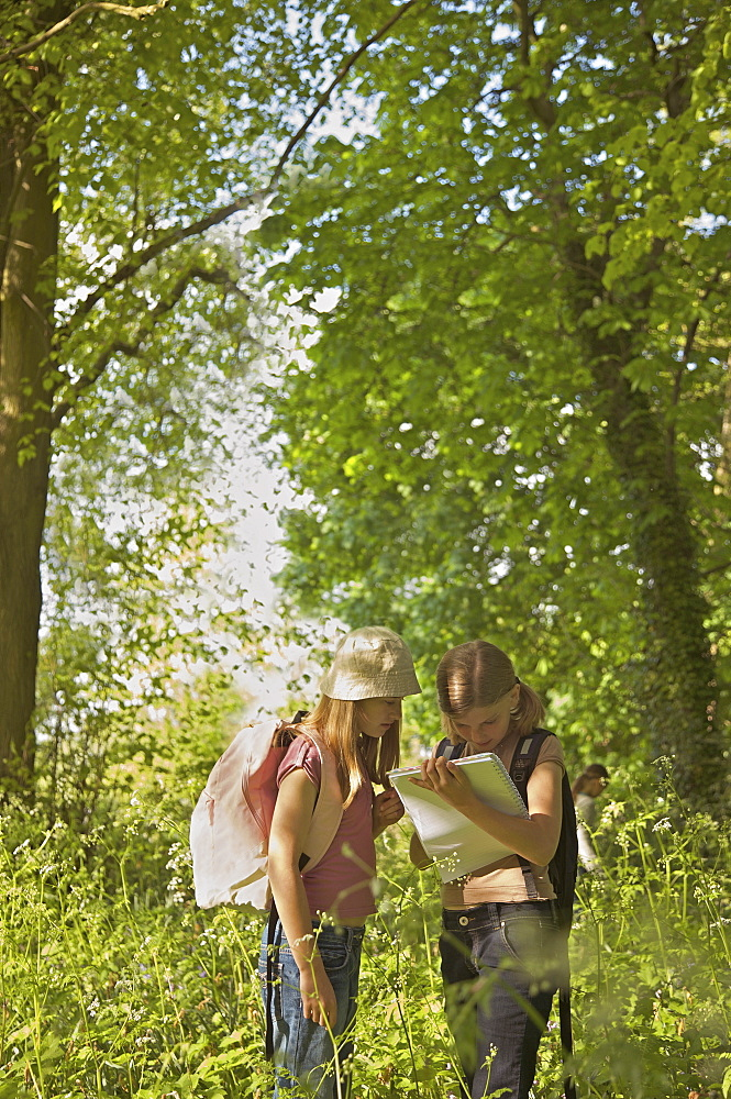 Girls with notebook on field trip in woods - 1177-3582