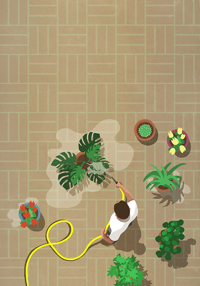 Man watering patio plants with hose - 1177-3931