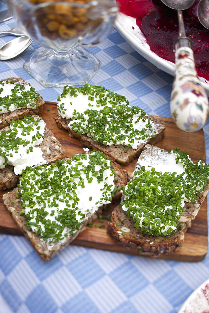 Cream cheese and chives on bread