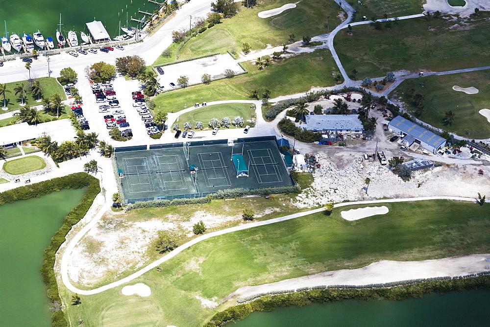 Aerial view of tennis court, Florida Keys, Florida, USA