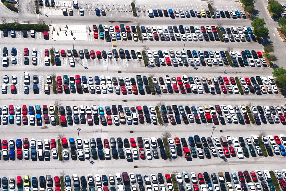 Aerial view of cars parked in a parking lot, Orlando, Florida, USA