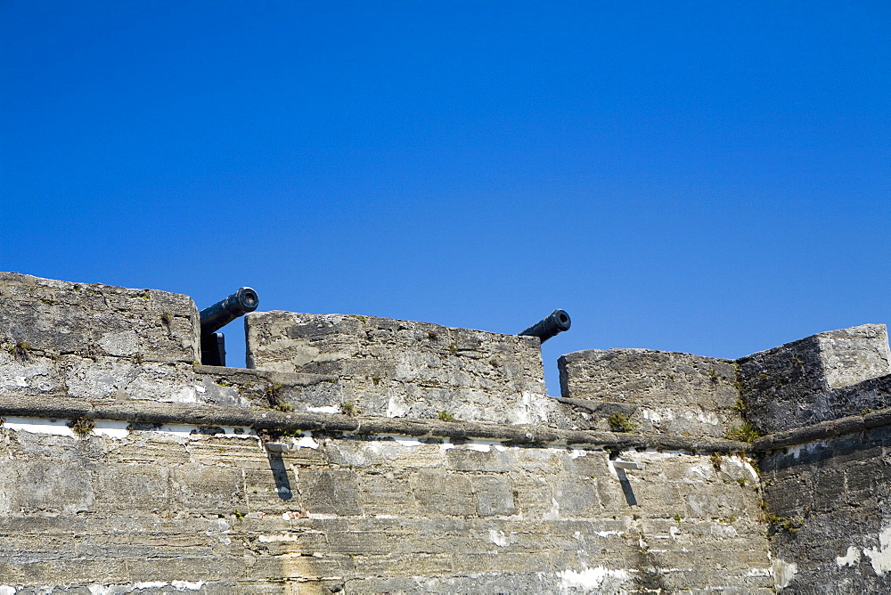 Low angle view of cannons on top of a castle, Castillo De San Marcos National Monument, St Augustine, Florida, USA
