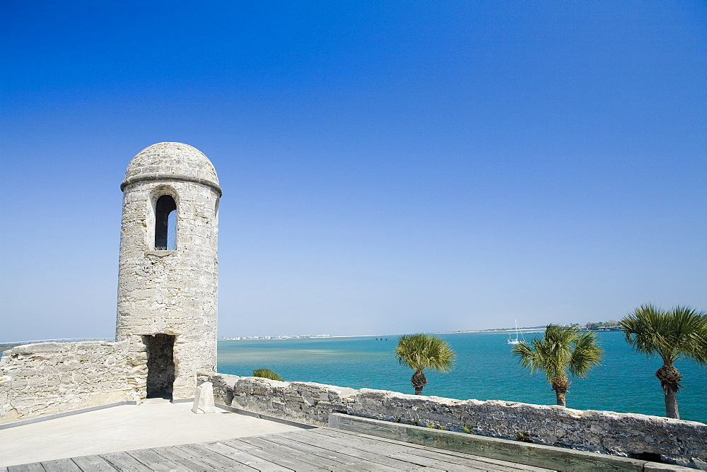Lookout tower on a castle, Castillo De San Marcos National Monument, St.Augustine, Florida, USA