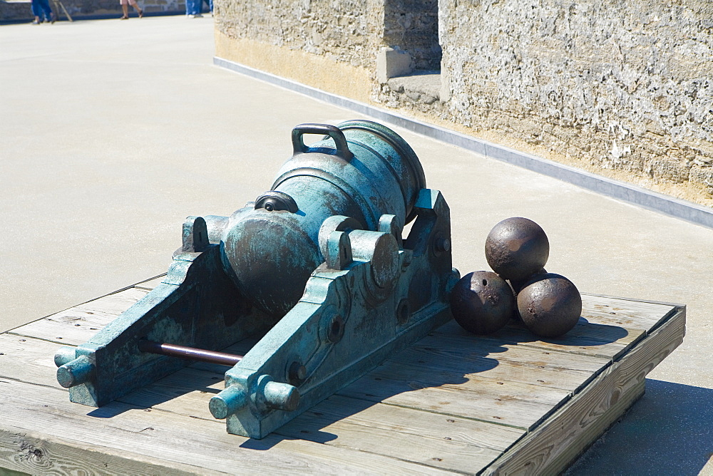 Close-up of a cannon and cannon balls, Castillo De San Marcos National Monument, St. Augustine, Florida, USA