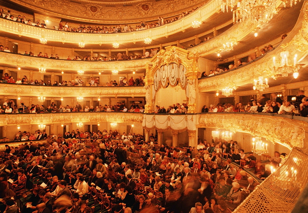 Large group of people in a theater, Mariinksy Theater, St. Petersburg, Russia