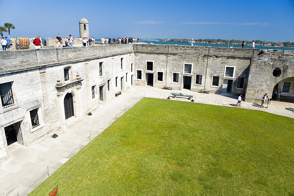 Tourists at a castle, Castillo De San Marcos National Monument, St. Augustine, Florida, USA