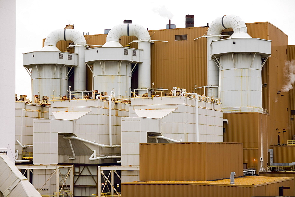 Low angle view of an oil refinery, Baltimore, Maryland, USA