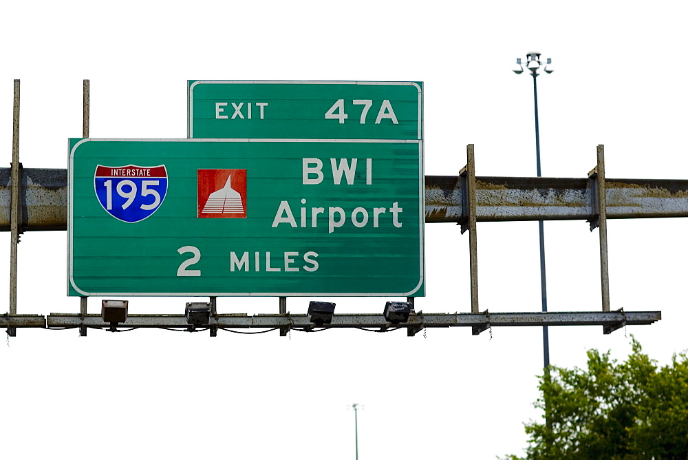 Low angle view of a road signboard, Baltimore, Maryland, USA