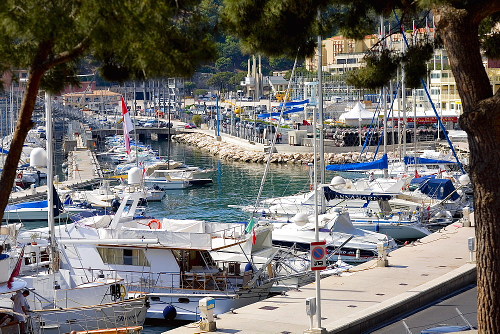 Boats docked at a harbor, Port of Fontvieille, Monte Carlo, Monaco