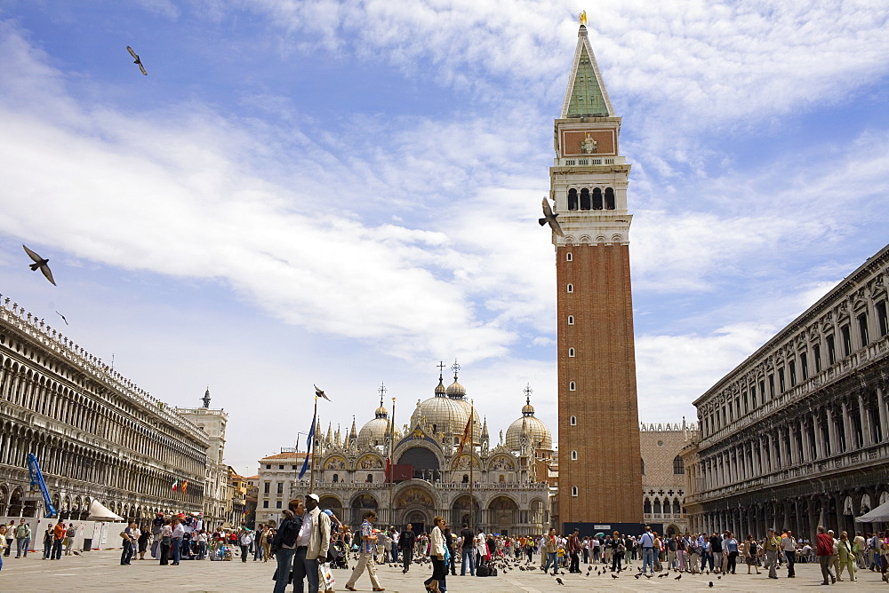 Low angle view of a bell tower, St. Mark's Cathedral, St. Mark's Square, Venice, Italy