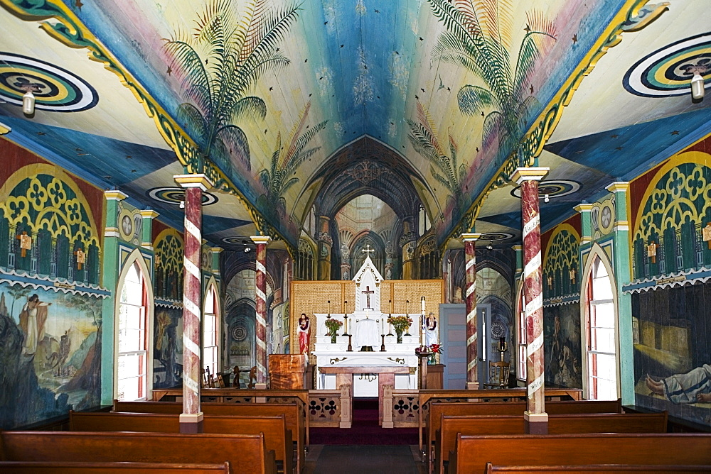 Interiors of a church, St. Benedict's Catholic Church, Honaunau, Hawaii Islands, USA