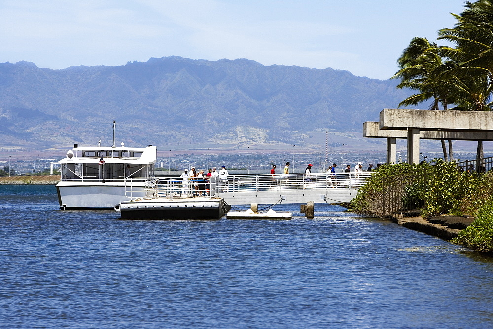 Tourboat in the sea, Pearl Harbor, Honolulu, Oahu, Hawaii Islands, USA
