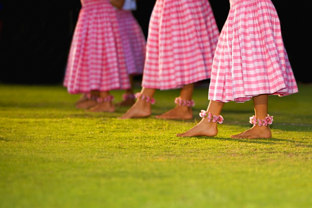 Low section view of four women hula dancing in a lawn