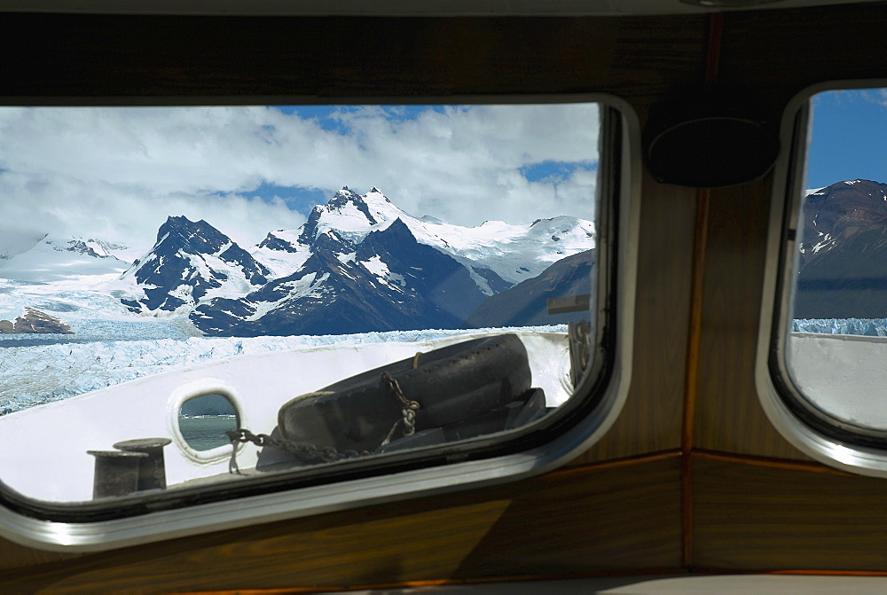 Mountain viewed through the window of a ship, Lake Argentino, Patagonia, Argentina