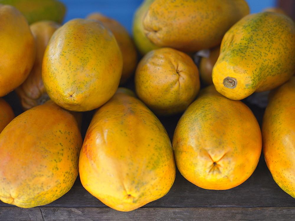 Close-up of a heap of papayas in a market stall, Providencia, Providencia y Santa Catalina, San Andres y Providencia Department, Colombia