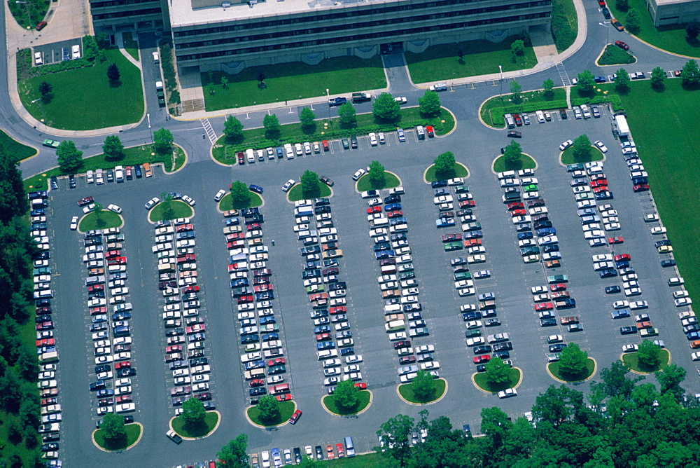 Aerial view of large parking lot in Maryland