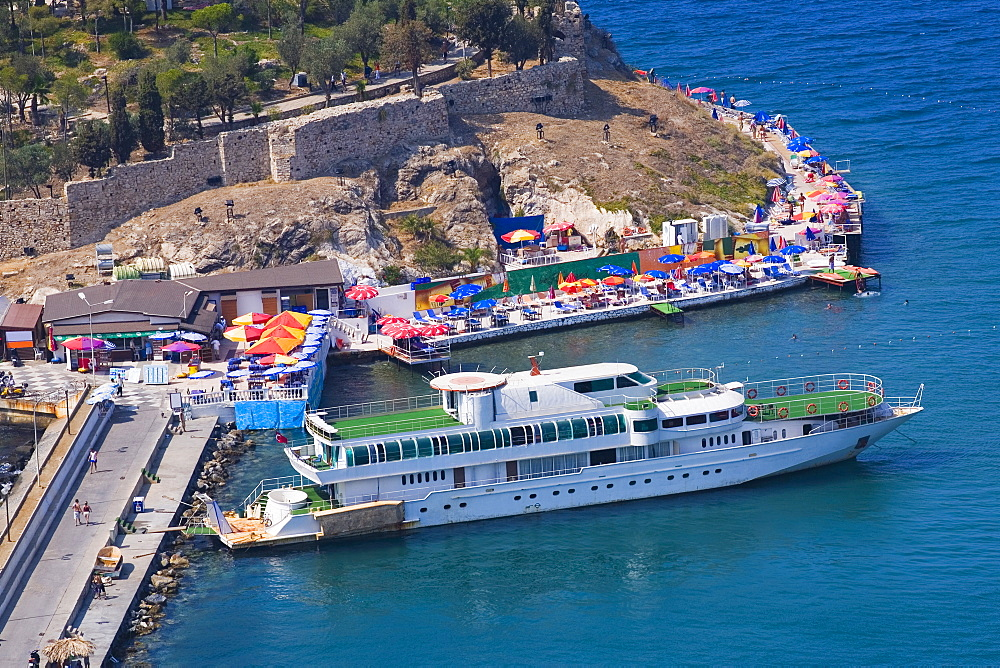 High angle view of a cruise ship moored at a harbor on an island, Ephesus, Turkey