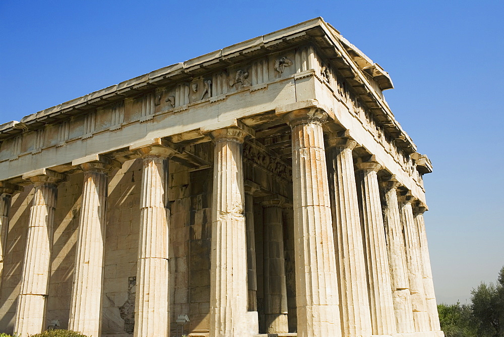 Low angle view of a temple, Parthenon, Acropolis, Athens, Greece