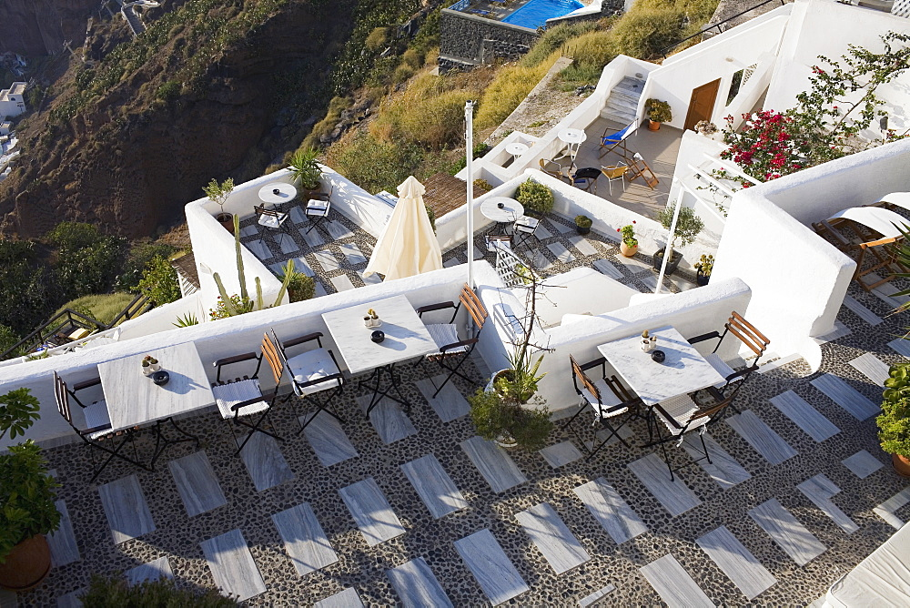 High angle view of a restaurant on a mountain, Greece