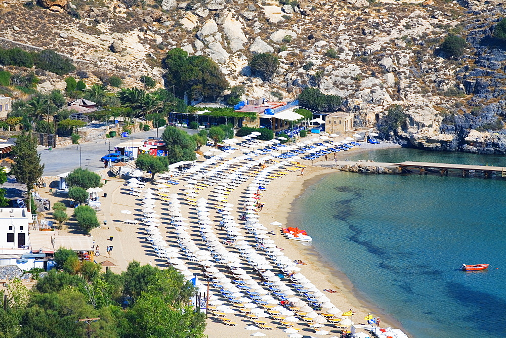 High angle view of a beach, Lindos, Rhodes, Dodecanese Islands, Greece