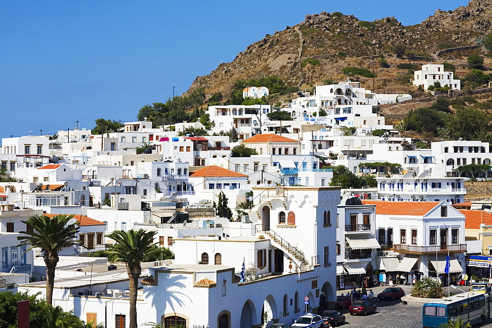 Buildings on the base of a mountain, Patmos, Dodecanese Islands, Greece