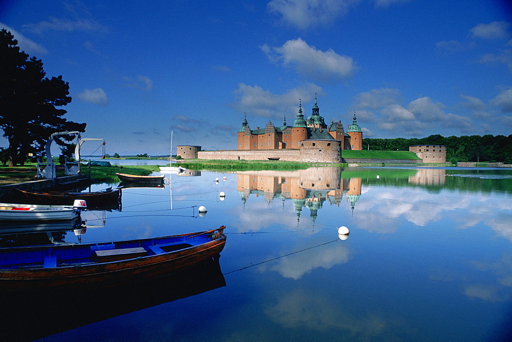 Reflection of a castle in a pond, Kalmar Castle, Smaland, Sweden